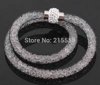 Wholesale NEW Resin Crystal Magnetic Clasp Wrap Bracelet Cuff Clasp Chain stardust Mesh Bracelet Bangle JJAL B176