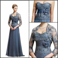 Wholesale Chiffon Gowns For Ladies - 2016 Graceful A Line Chiffon Mother of the Bride Dresses with short Bolero Jacket Sweetheart Lace Appliques Prom Evening Gowns for Ladies