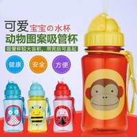 animal water bottle - Children Cartoon Animal Straw Cup Water Bottle Drinking Cup Leak Proof Sports Bottles ml HX