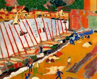 Oil Painting andre derain art - Wall art modern Canvas Painting oil The Port of Collioure by Andre Derain High Quality Handmade