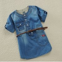 short dress with jeans - Top Quality Girl summer dress HOT Piece Retail Children Dress for girls Causal Short Sleeve Denim Jeans with belt C131