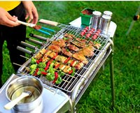 Wholesale Outdoor household stainless steel outdoor barbecue grills Large folding portable stove charcoal grill
