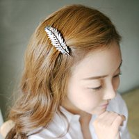 Wholesale South Korean high end atmosphere fashion hair ornaments head ornaments retro styling leaves bangs clip hairpin spring clip