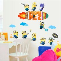 Wholesale Removable d wallpaper for kids Despicable Me Minion wallpapers wall paper d photo wallpaper self adhesive waallpaper for kids bedroom