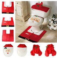 Cheap Wholesale-Christmas day products supplies decorations items Santa claus Toilet Seat Cover Rug Bathroom Mat Set