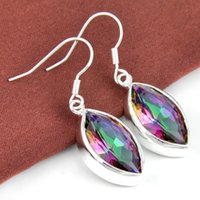 Cheap 3 Pairs   Lot Newest Rainbow Mystic Topaz Gemstone 925 Sterling Silver Plated Drop Earrings ce0446