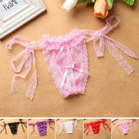 Cheap Wholesale Women Sexy Open Crotch Panties Plus Size Underwear Lingerie Lace G String T-Back Thongs For Girls One Size XF0018 Salebags