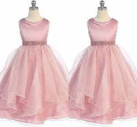 beauty weding dresses - Pink Princess Flower Girls Dresses With Beade Organza Tiered A Line Beauty Pageants Gowns for Girls Weding event