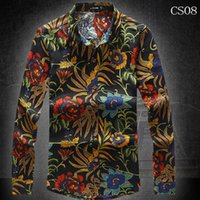 asian men wear - New cotton and linen leisure men s flower shirt men wear long sleeved shirt when people Asian size M xl camisa colors