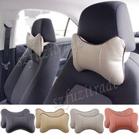 auto seat comfort - Hot High Quality PU Leather Neck Comfort Headrest Pillow Auto Car Seat Cover Head Neck Rest Cushion Pad Pillow JAA00006