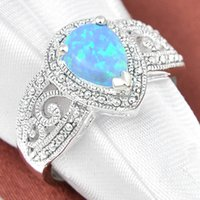 antique mothers ring - 5 Mother Gift Antique Drop Blue Fire Opal Gems Sterling Silver Ring Russia American Australia Weddings Ring Jewelry Gift