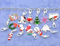 clip on charms - 2015 New Year Clip On Charms Fit Link Chain Bracelets Enamel Christmas Silver Plated