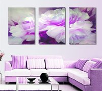 Cheap Free Shipping 3 piece wall art white purple lover flower big perfect canvas wall art on Canvas Picture Modern Picture home decor
