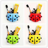 household items - 4 colors Cute Ladybug Cartoon Sucker Toothbrush Holder suction hooks Household Items toothbrush rack bathroom set
