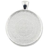 Wholesale Pendant Blank Bases Trays fit MM Round Glass Cabochon Zinc Alloy Bezel sold c1187