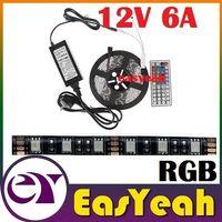 Wholesale Black PCB RGB Led Lights Strip Waterproof V M Kit key Remote Control V A Power Drivers US EU UK AU Plug