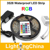 Wholesale New Arrival LED Flexible Strips RGB M set SMD3825 Waterproof IP65 in Retail Packing With Power Adapter And Remote Controller