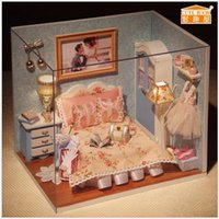Wholesale 2015 New Hot Sell Happy Moment Household Doll Wooden Dollhouse Miniatures LED Furniture Kit Light Music Gift