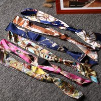 Wholesale High Quality Lady Silk Cotton Twilly Scarf Bags Handle Scarves Small Hair Band Bandeaus hot gift for lady