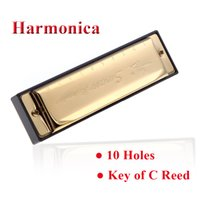 Wholesale Swan Holes Diatonic Harmonica Key of C Reed Blues Harp Stainless Steel Mouth Organ Musical Instrument with Case Golden Silver