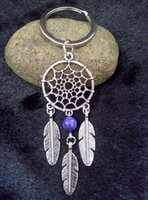 bead key chains - Tibetan Silver Dream Catcher Charm Key Chain Dreamcatcher Feather Mixed Color Plastic Beads Keychain Keyring Gift