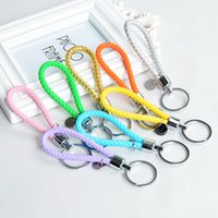 leather key ring - Shining PU Braided Leather Tag Keychain Car Keychain auto Keyring Candy colors key rings for bag car Accessory key holders mixed colors