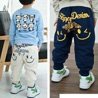 Wholesale 2015 retail Kids Boys Girl Unique Smiling Clothes Harem Pants Trousers Cartoon Kids Sz2 Y beige navy