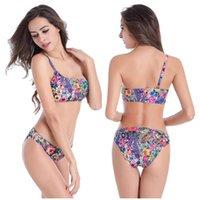 big pads single - 2016 Women Swimwear Swimsuits M XL plush large big size printing padded swimming suit bikini sets single shoulder beach Swimwear sw0010 LA