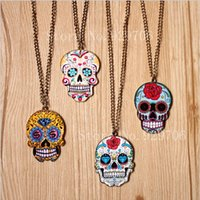 Wholesale Sale Hot Items Punk Sugar Hot Mexican Tattoo Skull Pendants Necklace Charm Women s Fashion jewelry New Arrival Product