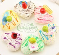 bakery cake mix - 24pcs Squishy Fridge Magnets heart cm PU Simulation cake Soft stretch bakery sample model gift MIX COLOR ORDE