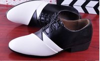 Wholesale Hot sell new black and white cusp lace up pu leather shoes dress shoes men s casual shoes groom wedding shoes