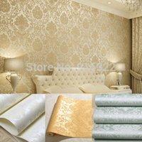Wholesale 53cm m Textured Glitter Metallic Damask Flocking Non woven Wallpaper Bedroom