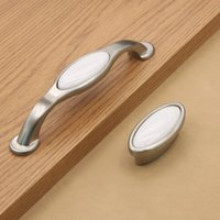 No antique white furniture - Silver polished vintage white ceramic solid handle pull knob for cabinet furniture knob Pitch row mm