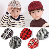 Wholesale 18 colors Kids Boys Girl Beret Cap Toddler Children s Flat Cabbie Hats Cotton Sun Caps Classic British Plaid bonnet Children caps