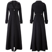 Wholesale S5Q Womens Elegant Slim Autumn And Winter Wool Blend Jacket Long Trench Coat AAAFSR