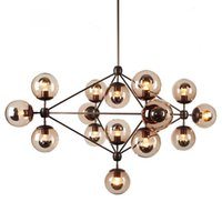 american contemporary art - 10 Globes Nordic Iron Art Pendant Light American Country Vintage Pendant Lamp Contracted and Contemporary Restaurant Bedroom Droplight