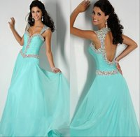 ans line - Delicate Long Party Evening Gowns A Line Cap Sleeve With Sexy Open Back Beaded Ans Crystals Floor length Chiffon Prom Formal Dresses China