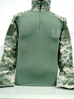 Cheap Wholesale-Tactical Combat Shirt with Elbow Pad Digital ACU Camo War Game Hunting Shirts