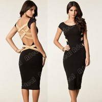 Cheap New European Fashion Womens Sexy Knee Length Bodycon Bandage Pencil Dress Celebrity Casual Party Dress#20105
