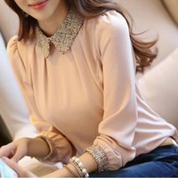 Cheap S-XL 2015 New Fashion Women Long Sleeve Chiffon Blouse Shirt peter pan collar Full Sleeve Women Blouse Tops 3 Colors BZ667549