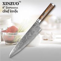 Wholesale HIGH QUALITY XINZUO quot inches chef knife Damascus steel kitchen knives high quality VG10 santoku hasher knife wood handle