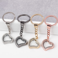 Wholesale 5PCS Fashion MM Heart Memory Locket Keychains Glass Magnetic Floating Locket Keychains with Rhinestones You can Choose Colors FK03