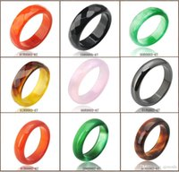 agate ring men - Hot Sale high quality Natural Agate jade Crystal gemstone jewelry engagement wedding rings for women and men Love gifts more Color optional
