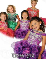 Wholesale Sweet Ritzee Girls Pageant Dresses Jewel Neck Organza Crystal Beads Short Infant Pageant Dresses Cupcake Kids Formal Wear Custom Made