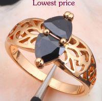 fashion jewelry usa - Rare Black Onyx K Gold Plated Fashion Jewelry Nickel Lead Free K Plating Crystal Rings USA Size JR1672
