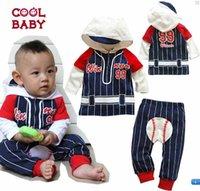 baseball pants lot - 2014 New Autumn Cute Baby Boy Clothing Sets Hoodies Pants Baseball Baby Sport Suit Hooded Coat Pants sets