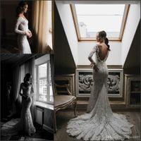 bead buyer - Princess Berta Full Lace Wedding Dresses Long Sleeve Vintage Detail Real Buyer Show Hot Backless Mermaid Trumpet Wedding Bridal Gowns
