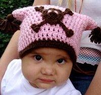 Girl Spring / Autumn Crochet Hats Spring Crochet Skull Pirate Knitted Hat Baby Girls Cartoon Animal Cap Newborn Infant Toddler Kids Hat Winter Crochet Beanie Earmuffs Cotton