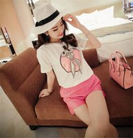 Cheap wholesales 2015 Summer Women t-shirt Ear Cute Rabbit Printed t shirts Tee Tops Girl Harajuku Basic Shirt Blusinhas Femininas