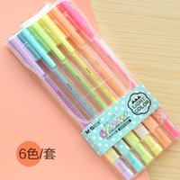 Gel Pens ball paint markers - 6 colors fluorescent marker pen colored gel pens Waterproof Paint Pen Highlighters Roller ball pen Stationery Gift
